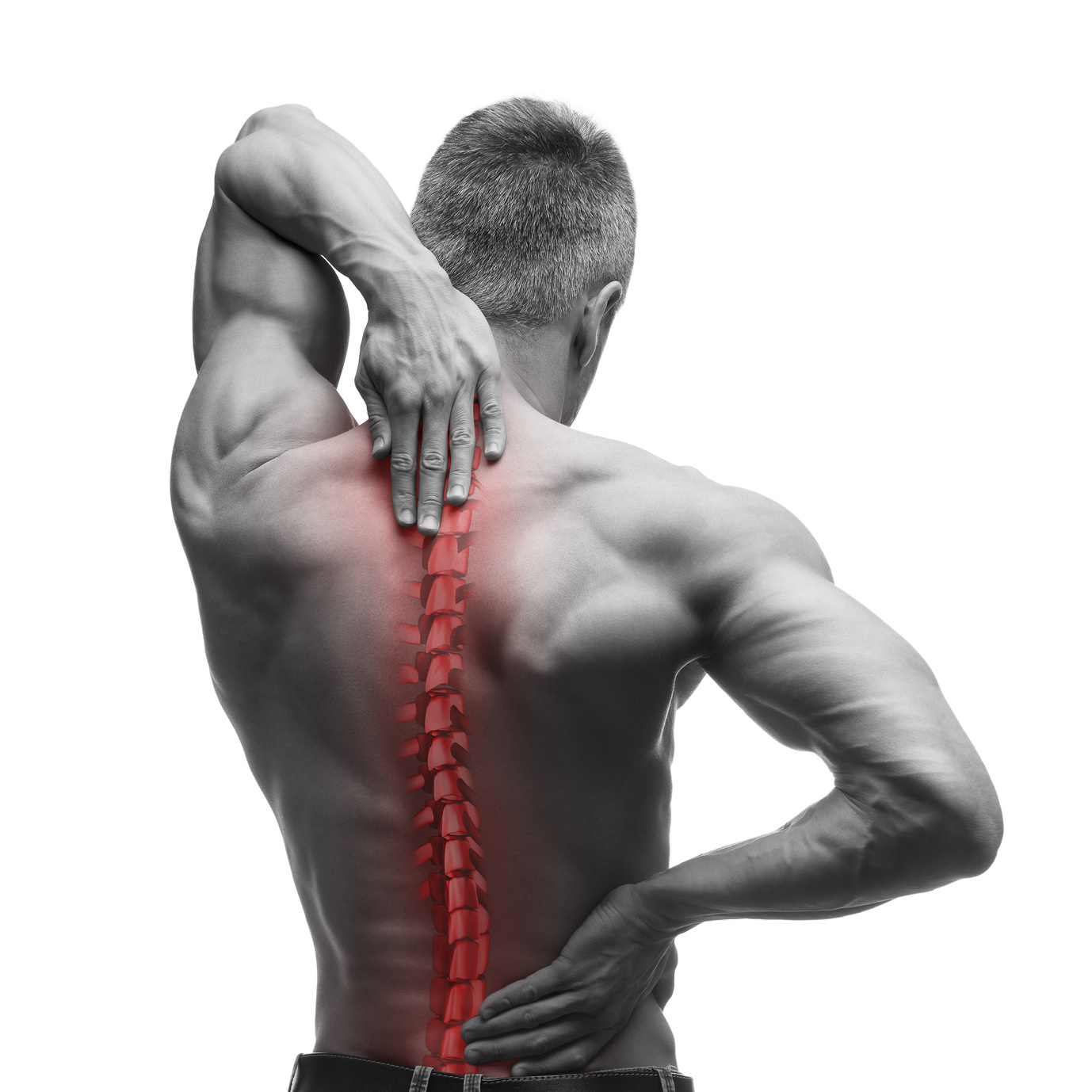 Spine pain, man with backache and ache in the neck